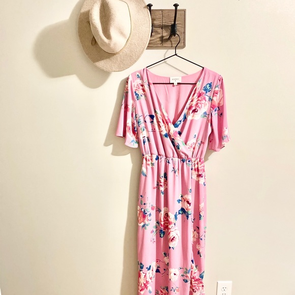 Everly | Pink Floral Maxi Dress